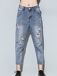 Mulheres Calças Simples Jeans Raiom Sem Elasticidade Mulheres
