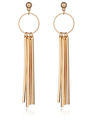 Europe 18K Gold Plated Circel Metal Strip Earring Jewelry Punk Style Personality Long Earrings For Women