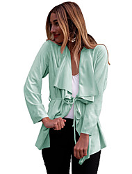 Women's Casual/Daily Simple / Street chic All Match Slim Spring / Fall Jackets,Solid Cowl Long Sleeve