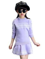 Mädchen Pullover & Cardigan / Kleidungs Set-Lässig/Alltäglich Jacquard Kunstseide Winter / Frühling / Herbst Lila / Rot