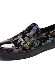 Fashion Men's Flower Printed Casual Loafers Slip-on Lazy Shoes for Students