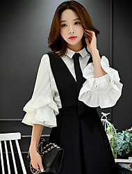 dabuwawa mulheres saindo formal / / trabalho do vintage / simples / sophisticatedshirt, colarinho da camisa sólida ¾ manga