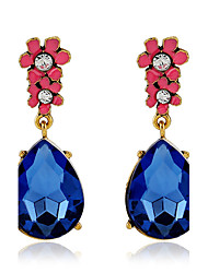 Top Quality Fashion Luxury 2016 Flower Earring Blue Crystal Water Drop Earrings For Women Jewelry pendientes