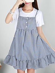 Women's Going out /Cute Skater Dress,Check Round Neck Above Knee Short Sleeve Blue Cotton Summer