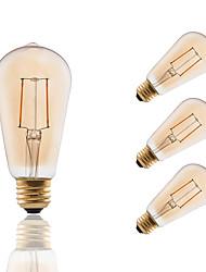 2 E26/E27 Lâmpadas de Filamento de LED ST19 2 COB 180 lm Âmbar Regulável / Decorativa AC 110-130 V 4 pçs