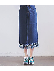 Women's Solid Blue Skirts,Simple Midi