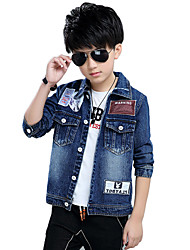 Boy's Cotton Spring/Autumn Fashion Leather Patchwork Print Cowboy Outerwear Long Sleeve Denim Jacket Coat