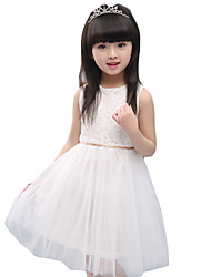 Girl's Casual/Daily Solid Dress,Others Summer Red / White