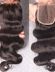 "Indian Virgin Remy Hair 4X4"" Body Wave Human Lace Closure Bleached Knots"