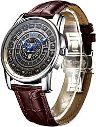 AngelaBOS Hombre Reloj de Vestir Reloj de Moda El reloj mecánico Cuerda Automática Calendario Resistente al Agua Luminoso Piel BandaCool
