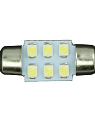 10pcs White 31mm 6-SMD Festoon Dome Map Interior LED Light Lamp DE3175 3022