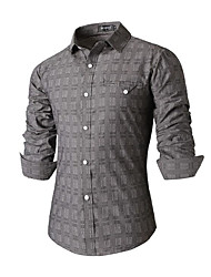 Men's Striped Casual / Work Shirt,Cotton Long Sleeve Gray