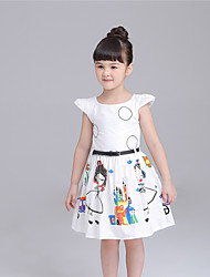 KIMOCAT Girl's Casual/Daily Print Dress,Cotton Summer White