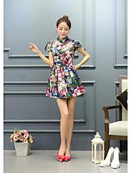 De las mujeres Corte Swing Vestido Noche Tejido Oriental,Floral Escote Chino Sobre la rodilla Manga Corta Azul Rayón Verano