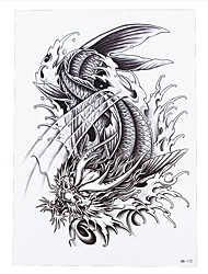 1pc Summer Style Temporary Dragon Fish Tattoo Sticker Women Men Sleeve Back Body Art Tattoo HB-172