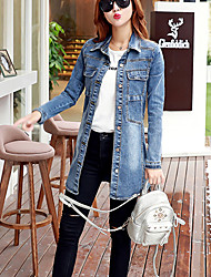 Women's Casual/Daily Simple Winter Denim Jackets,Solid Shirt Collar Long Sleeve Blue Cotton Medium