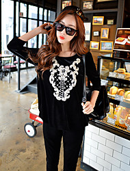 DABUWAWA Women's Going out / Casual/Daily / Street chic / Active / Punk & Gothic Regular Hoodies,Solid / Embroidered  Round Neck¾