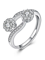 Fine Sterling Silver Roses Diamond Statement Ring for Women Wedding Party