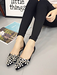 Women's Sandals Summer Sandals / Pointed Toe PU Casual Flat Heel Sequin Black / Silver Others