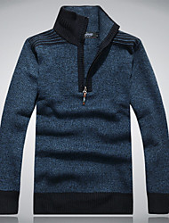 Men's Casual/Daily Work Plus Size Regular Cardigan,Solid Long Sleeve Wool Fall Winter