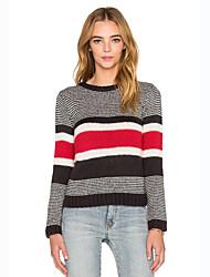 Normal Pullover Femme Décontracté / Quotidien Chic de Rue,Couleur Pleine Noir Col Arrondi Manches Longues Coton Printemps / Automne Moyen