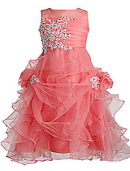 Ball Gown Tea-length Flower Girl Dress - Tulle Jewel with Beading Crystal Detailing Pick Up Skirt