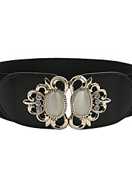 Women PU Wide Belt,Casual Rhinestone All Seasons