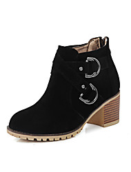 Women's Boots Spring / Fall / Winter Fashion Boots / Combat Boots Leatherette  / Casual Chunky Heel ZipperBlack / Red
