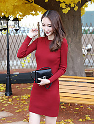 Women's Going out Sexy Sweater Dress,Solid Round Neck Above Knee Long Sleeve Red / White / Black Cotton Fall / Winter