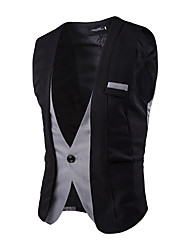 Men's Fashion Slim False Two Spell Color Single Breasted Suit Vest,Cotton / Spandex Sleeveless Black / Gray