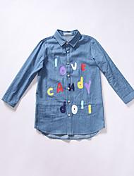 Menina de Vestido / Camisa,Casual Estampado Algodão Primavera / Outono Azul