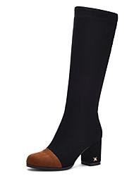 Women's Boots Fashion Boots / Round Toe Fleece Party & Evening / Dress / Casual Chunky Heel Split Joint / Zipper