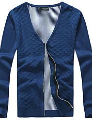 Men's Casual Slim V-Neck  Zipper Cardigan,Cotton / Polyester Long Sleeve Black / Blue / Red / Yellow / Beige / Gray