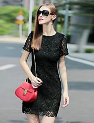 женщин выходить сексуальное платье, твердый шею выше колена с коротким рукавом белый / черный др лето
