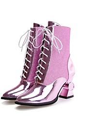Feminino-Botas-Sapatos clube Light Up Shoes-Salto Grosso-Roxo Prateado Dourado-Sintético-Social Casual