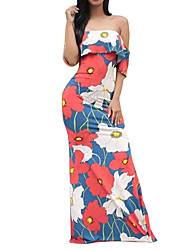 Women's Going out / Party/Cocktail Vintage Sheath Dress,Floral Off Shoulder Maxi Sleeveless Red Summer