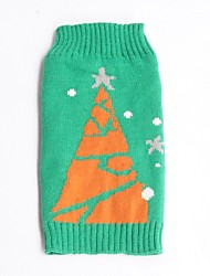 Cat / Dog Sweater Green Dog Clothes Winter Snowflake Holiday / Christmas