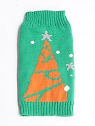 Katzen / Hunde Pullover Grün Hundekleidung Winter Schneeflocke Urlaub / Weihnachten