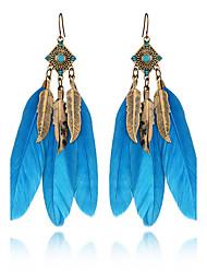 3 cores verão boêmia charme vintage deixa gota brincos jóias brincos de pena de strass para mulheres