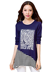 Spring / Fall Plus Size/Going out/Casual/Daily Women's Tops Round Neck Long Sleeve Striped Printing T-shirt