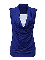Damen Einfarbig Einfach Lässig/Alltäglich T-shirt,Rundhalsausschnitt Sommer Ärmellos Blau / Weiß / Schwarz / Lila Baumwolle Dünn