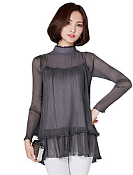 Spring / Fall Plus Size Going out Casual Women's Blouse Solid Stand Long Sleeve Pleated Chiffon Fake Piece Tops
