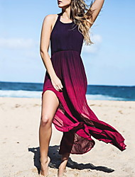 Women's Party Sexy Swing Dress,Color Block Halter Maxi Sleeveless Purple Polyester Spring