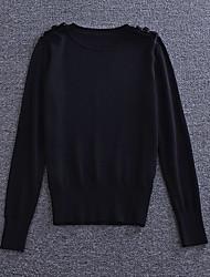 Mujer Regular Pullover Noche / Casual/Diario / Vacaciones Vintage / Simple / Chic de Calle,Un Color Negro / Gris Escote RedondoManga