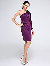 TS Couture Cocktail Party Dress - Sexy Sheath / Column One Shoulder Knee-length Chiffon Satin with Side Draping