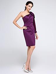 2017 ts cocktail couture® bainha de vestido de festa / coluna de um ombro até o joelho chiffon / cetim com drapeados lado