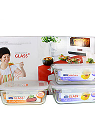 LOCK&LOCK 3/set Kitchen Kitchen Glass Lunch Box 186*133*68mm,175*130*64mm  LLG431S008