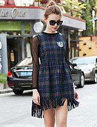 Boutique S Women's Going out Vintage Sweater Dress,Striped Crew Neck Above Knee Long Sleeve Blue Others Spring