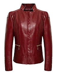 Women's Plus Size / Casual/Daily Simple Large Size Slim Fall Leather Jackets,Solid Stand Long Sleeve