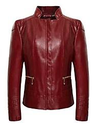 Осень Кожаные куртки Воротник-стойка,Простое Однотонный Синий / Красный / Черный Длинный рукав,Полиэстер,Средняя